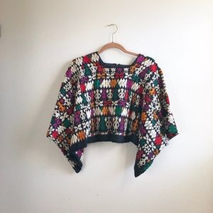 Vintage embroidered cropped top colorful sz:S